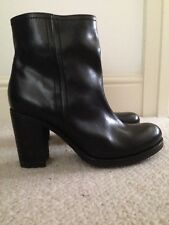 New  Black Jonak Real Leather Chunky Platform Ankle Boot 7