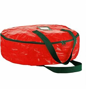 Water-Resistant  Christmas wreath Storage Container 30'' Red