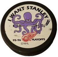 1995-96 I want STANLEY CUP DETROIT RED WINGS PLAYOFFS NHL HOCKEY PUCK SLOVAKIA