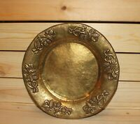 Vintage hand made ornate floral brass bowl plate