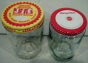 Vintage Creamy Smooth JIF Peanut Butter & Mary Ellen Jam Glass Jars