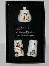 Dogs Salt & pepper pots & mustard pot & spoon gift boxed Airedale, Old English,