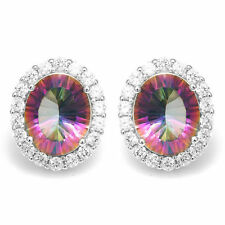 6ct,13mm Amazing Mystic Topaz Oval Stud Earrings Solid 925 Silver Clearance