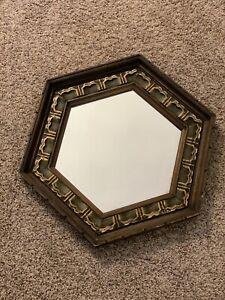 Vintage J.A. Olson Co Hollywood Regency Mid Century MCM Hexagon Wood Wall Mirror