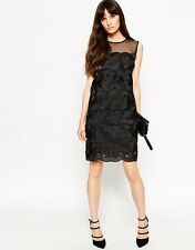BNWT REISS Black Pepper Lace Cocktail Party Evening Shift Dress Size 10 £235 New