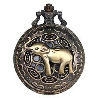 Men's Retro Antique ElephantPattern Quartz Analog Bronze Pocket Watch Necklace
