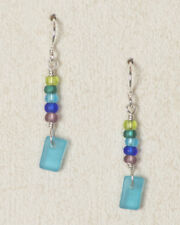 White Light Coastline Turquoise SEAGLASS Earrings STERLING Silver Glass + Box