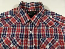 KL372 G-STAR RAW check ziped/button shirt overshirt size L, as unused condition!