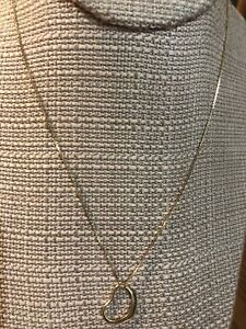 """14k Yellow Gold Simple 16"""" Necklace With .50"""" Heart Pendant 1.9 grams"""