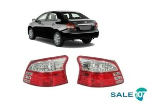Fits For 2007 2013 Toyota Yaris Sedan Tail Lamp Rear Light Left&Right Pair LH-RH