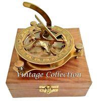 Antique Maritime Brass Sundial Compass Nautical Marine Compass in Wooden Box