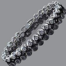 Cubic Zirconia Round Cut Fine White Topaz Tennis Gold Plated Xmas Bracelet