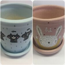 2 Set Unique Handmade plant pot flower pot and hand painted. #PP10-2