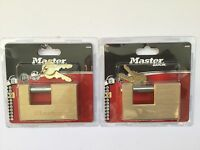 masterlock 608eurd padlock X 2 locks container style 85mm brass 8 security 2keys
