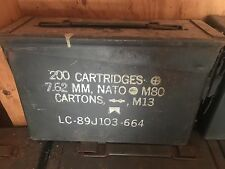 Vintage Military Issued 7.62 MM Ammo Can .30 Cal 200 Cartridges M13 Carton M80