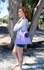 Earth Divas ~ Purple Hobo Handbag with Flower Hand-loom Heavy Cotton Small