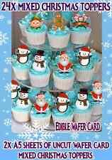 Navidad Navidad Santa Muñeco De Nieve Pingüino Cup Cake Toppers tarjeta Oblea Comestible Stand Up