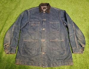VTG Sears Work N' Leisure Blanket-Lined Denim Barn Chore Jacket Size XL