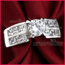 9K WHITE GOLD GF WOMENS SOLID 2CT SQUARE LAB DIAMOND 7MM WEDDING BAND RING GIFT
