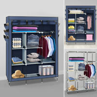 "69"" Portable Closet Storage Organizer Clothes Wardrobe Shoe Rack with Shelves US"
