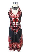 BOHO Dress - Hippy Vintage Triangle Halter Black White Red Tribal Geometric 6/8