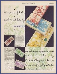 Vintage 1931 MARTEX Bath Towel Sets Wash Cloths Mats Holiday Print Ad 30's