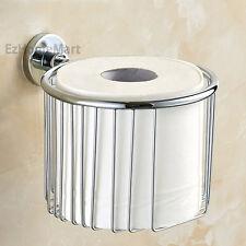 Chrome Bathroom Roll Paper Holder Wire Toilet Paper Storage Basket Round Shelf