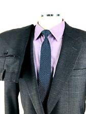 46XL Jos A Bank Mens Recent 2 Button Wool Suit Pencil Gray Houndstooth Pants 38