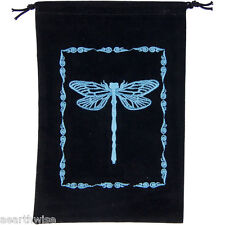 EMBROIDERED DRAGONFLY BLACK VELVETEEN BAG  Wicca Witch Pagan Tarot Goth Punk
