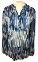 Chico's Blue Sheer Ikat Long Sleeve V-neck Lightweight Top Size 2 Peasant Boho