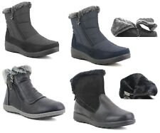 Womens Ladies Warm Fur Lined Comfort Lightweight Snow Winter Zip up Ankle Boots