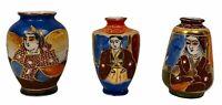 3 Japanese Hand Painted Moriage Satsuma Miniature Vases