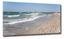 Leinwand Bild Strand Meer Ostsee Warnemünde Leuchtturm