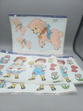 4 Sets Vintage Pink Lambs Raggedy Anne Andy 1982 Handpainted Decals Decorcal
