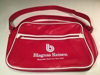 Blaguss Riesen Bus Co. Retro Red & White Vinyl Carry On Travel Messenger Bag