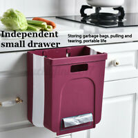 Foldable Kitchen Cabinet Door Hanging Wall Mounted Trash Can Small Waste Bin US