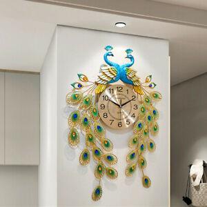 Modern Luxury Large Wall Clock Peacock Art Round Diamond Living Room Decor UK