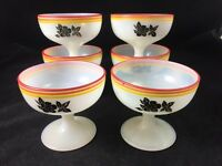 "Set of 6 Hazel Atlas PLATONITE 3 1/8"" Sherbets w/ Black Flower & Stripes c. 1936"