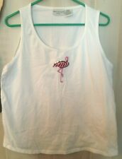 WHITE STAG WOMAN Sleeveless Pull On Tank Top Plus Sz 1X White Sequin Flamingo