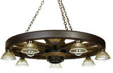 "42"" Cast Downlight Wagon Wheel Chandelier Light - Antler Made in USA"