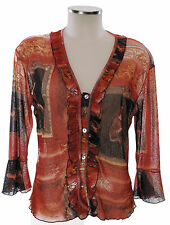 Kara Makan Shirt 40 38 (D) Bluse bunt rot mesh Italy Luxus blouse Viskose top