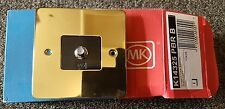 MK K14325 PBR B Single F Type Sattelite TV Socket Polished Brass Plug 86 x 86