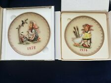 Goebel M.J. Hummel Annual Plate 1974 & 1978 Hand Painted 7.5""