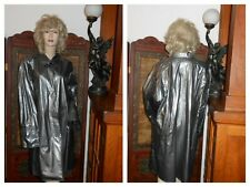 Vtg L/XL Items Intl' Vinyl Raincoat Shiny Black Silver PVC Rain Jacket Slicker
