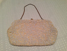 Vintage LA REGALE Hand-Made WHITE BEADED HANDBAG PURSE CLUTCH Sequins & Pearls