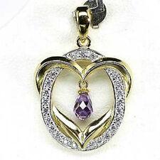 Sterling Silver 925 Vermeil Genuine Natural Amethyst Briolette Faceted Pendant