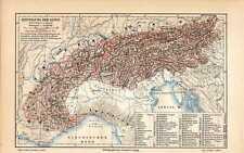 Antique map landkarte einteilung der Alpen Alps 1902
