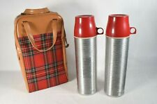 Vintage (50's?) Thermos Usa Red & Black Plaid Picnic Set (Great Shape) Stainless