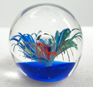 MURANO ART GLASS ROUND CLEAR PAPERWEIGHT WITH FLOWER AND VASE INSIDE
