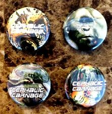 CEPHALIC CARNAGE Ltd Ed RARE New 4 Pins Set +FREE Metal/Rock/Hardcore Stickers